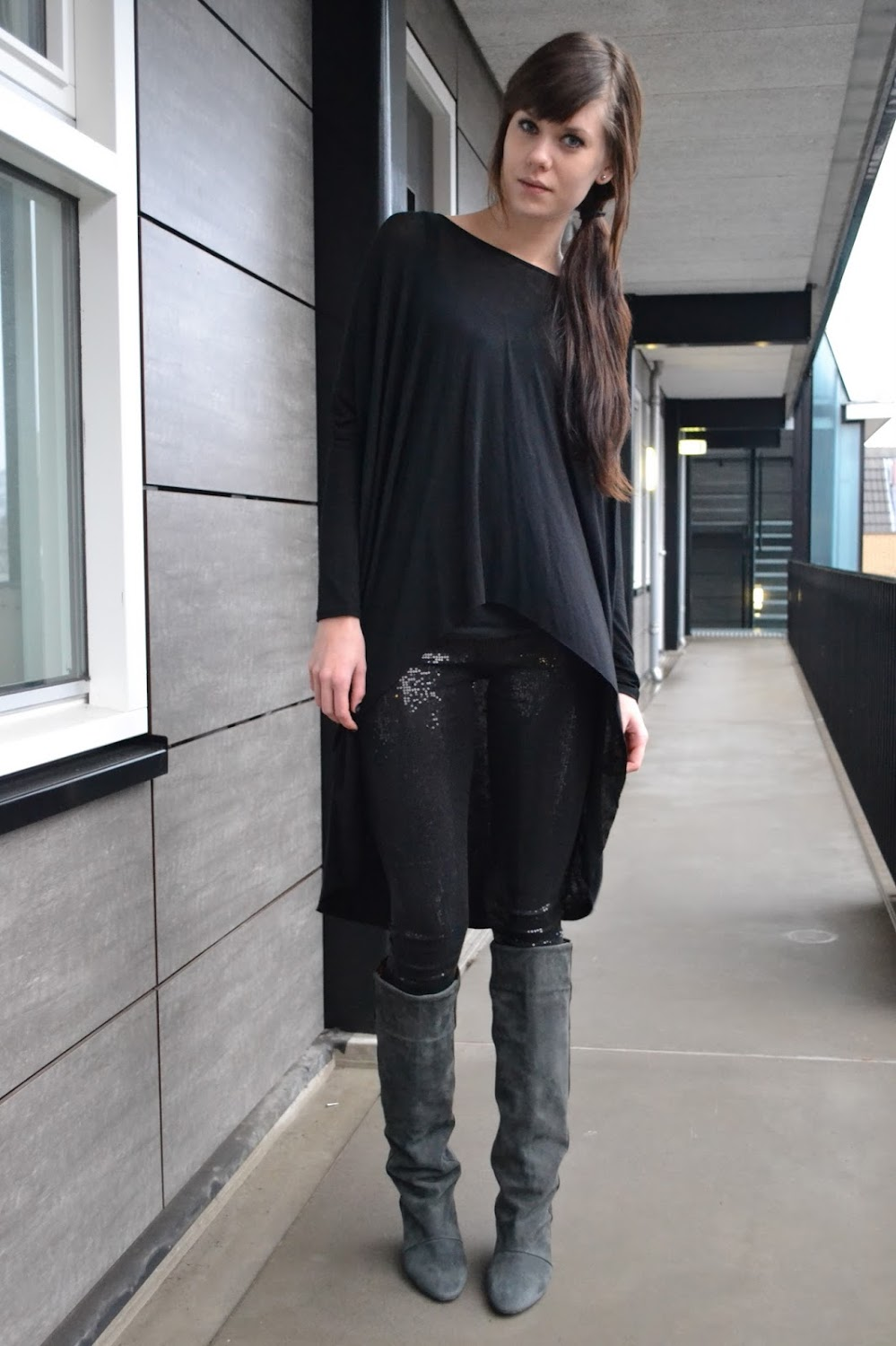Leggings And Boots http://lovelybylucy.com/2012/01/outfit-closing-2011/