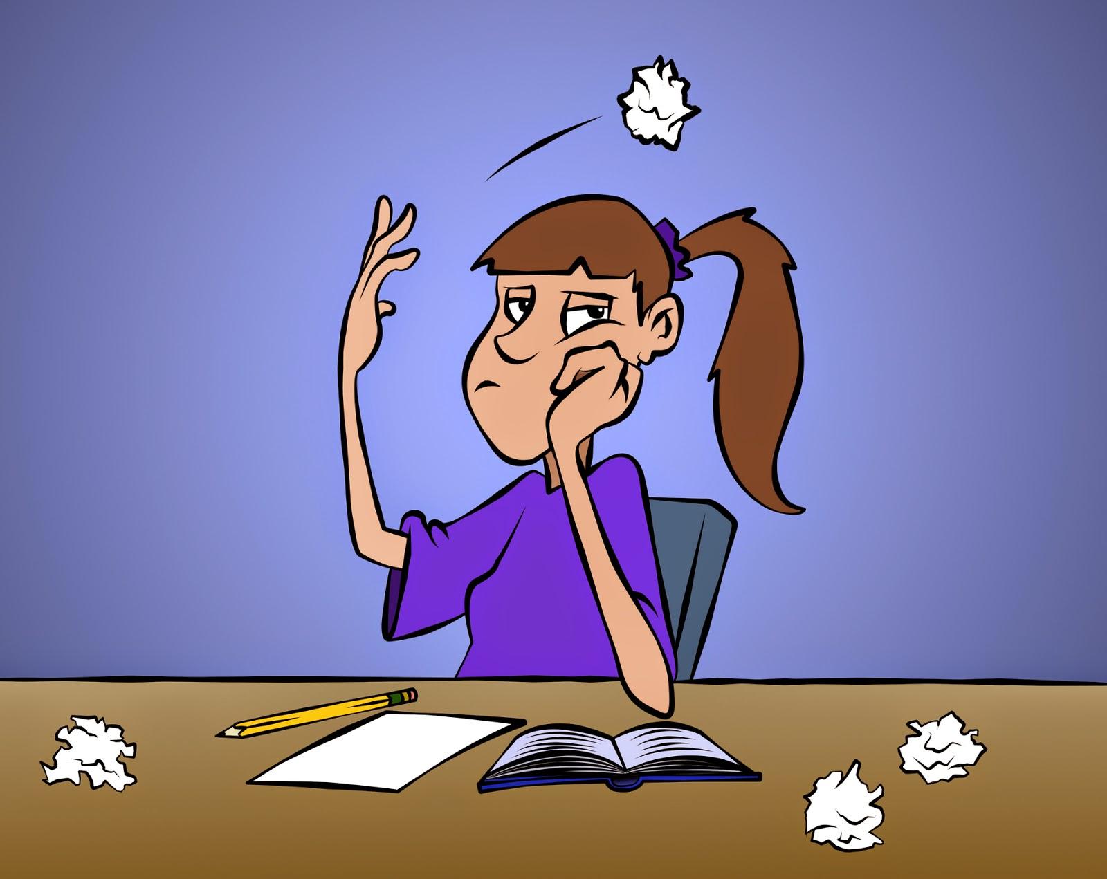 Cartoon Girl Throwing Paper Away After Writing