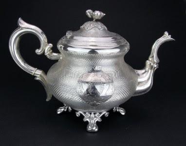 ANTIQUE 19thC FRENCH SOLID SILVER 4 PIECE TEA SET, DEBAIN & FLAMENT, PARIS c1875