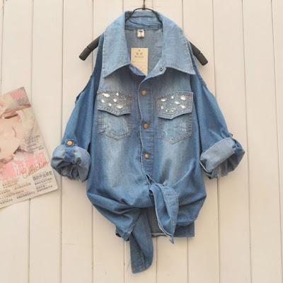 Model Kemeja Jeans Wanita Ukuran Besar Murah Import