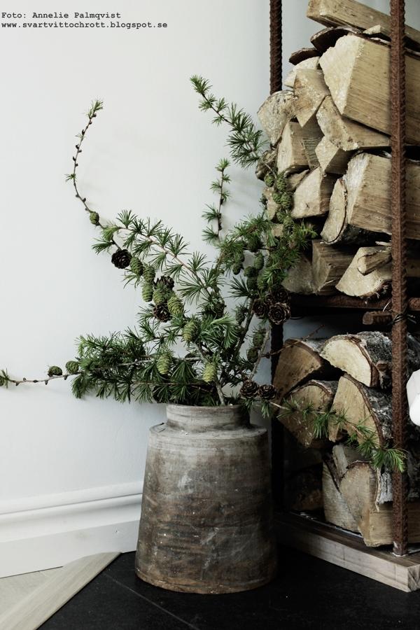 lärkträd, lärk, lärkkvistar, kvist, gren, grena, till jul, juldekoration, vedförvaring, ved, vedträn, armeringsjärn, diy
