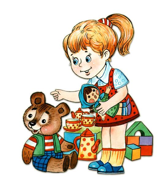 рисунок, девочка с игрушками