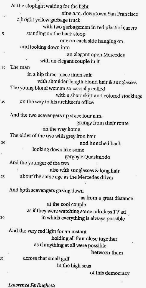 two scavengers in a truck essay Two scavengers in a truck, two beautiful people in a mercedes is a poem by  american poet lawrence ferlinghetti up until 2010, the poem was studied by.