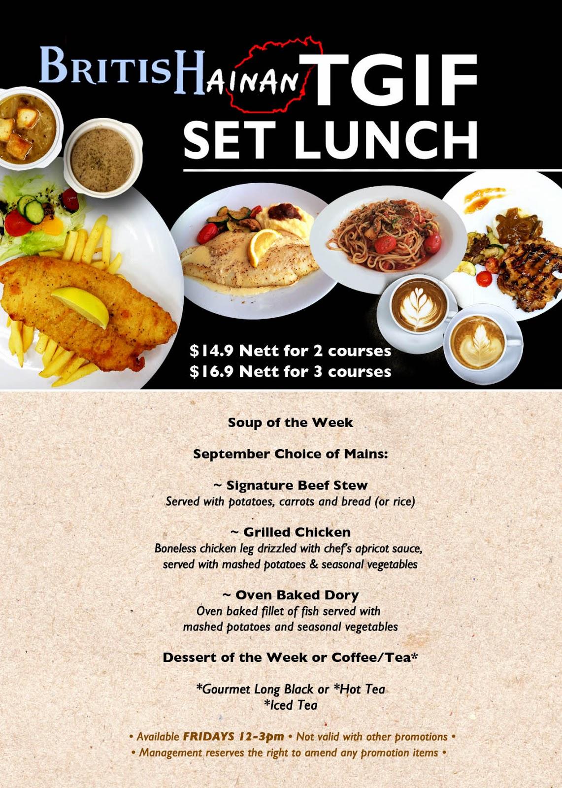 Lunch Special Menu Restaurant