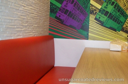 red cushioned seat at Mongkok Dimsum & Noodles