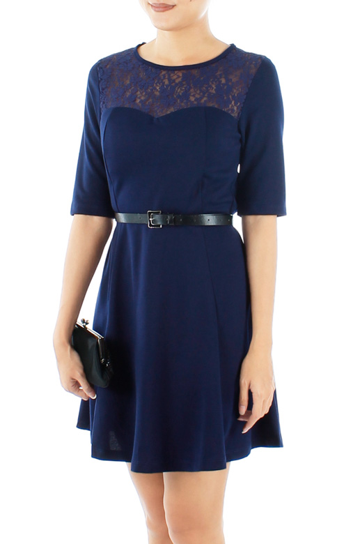 Monaco Blue Destiny Lace Flare Dress with Sleeves