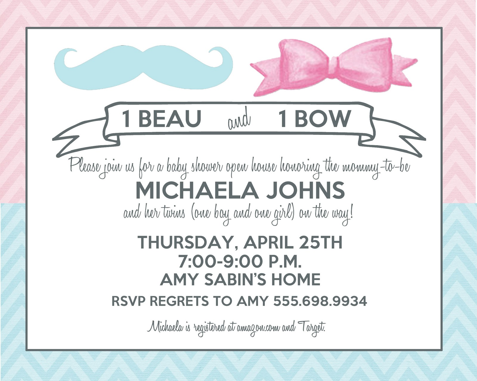 Announcements to Ponder: {Twins Beau/Bow Boy/Girl Baby Shower}