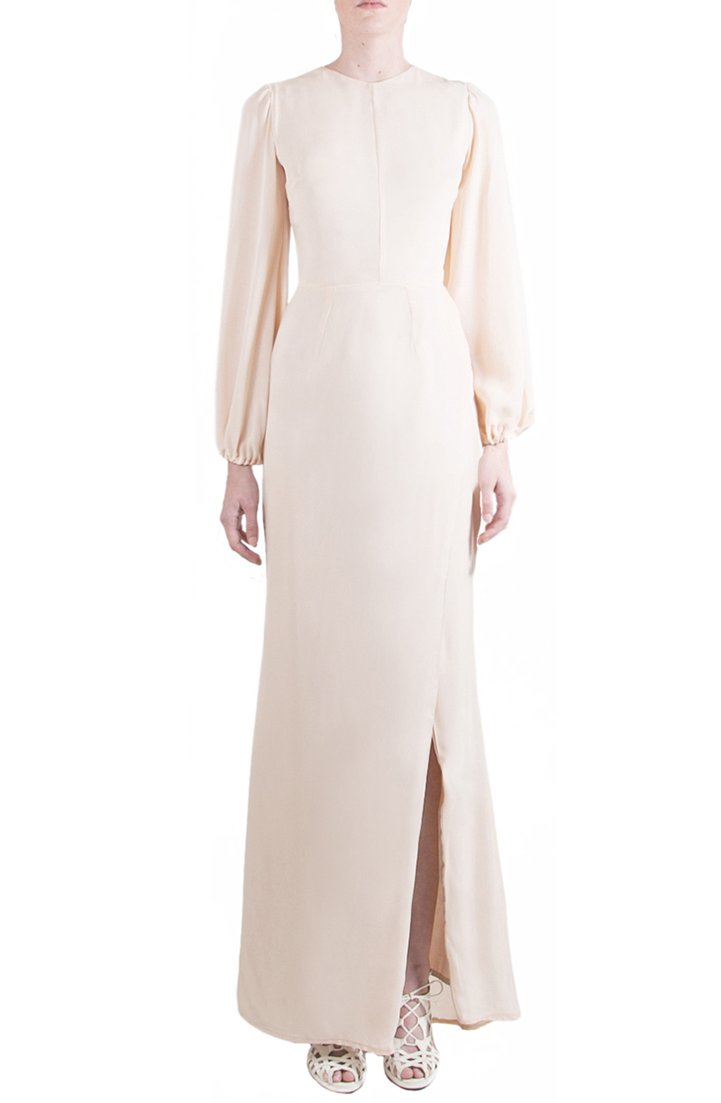 Alyssa Nicole Spring 2015, Silk Bell Sleeve Gown, Blush Wedding Gown, Nude Silk Dress, Bell Sleeve Wedding Gown, Luxury Womenswear Collection