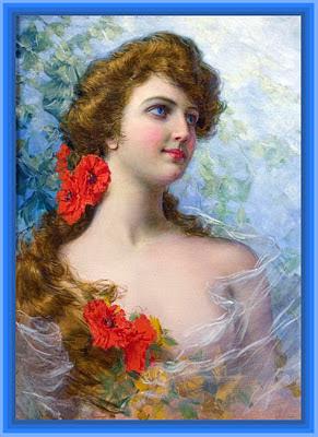 dama victoriana con flores rojas vintage