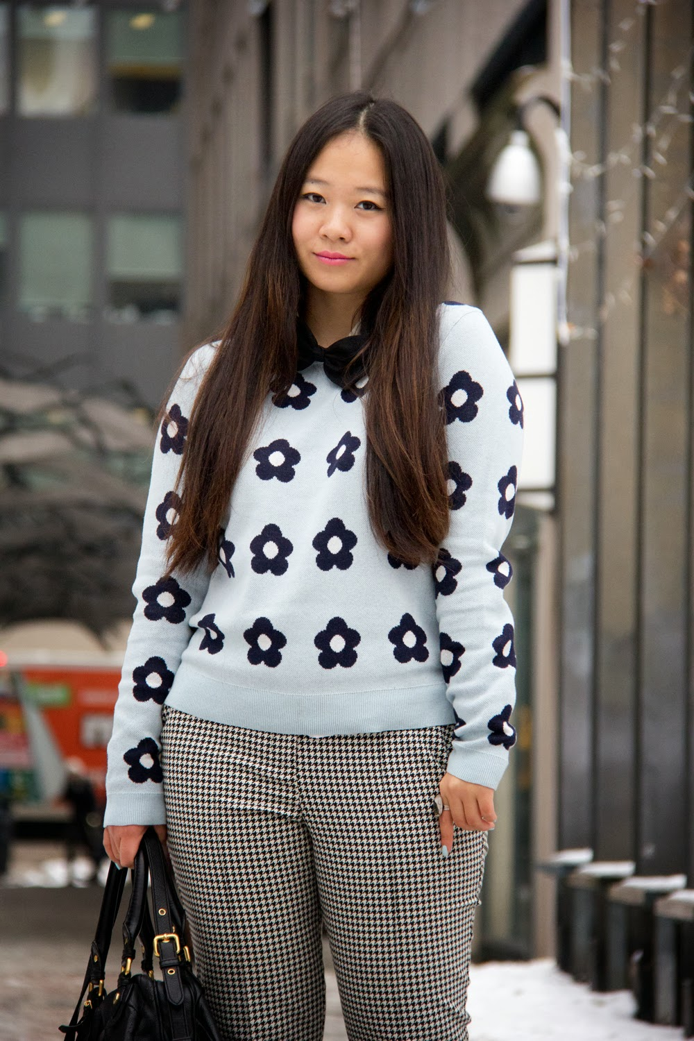 JoeFresh-Flower-Print-Sweater, Black-bow-tie, TopShop-Print-Pants
