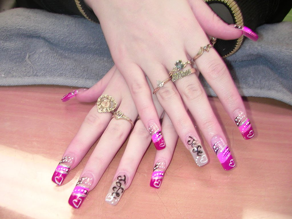 Model And Polished Nail: Pink Nail Art, Pink Tribal Design Nail Art