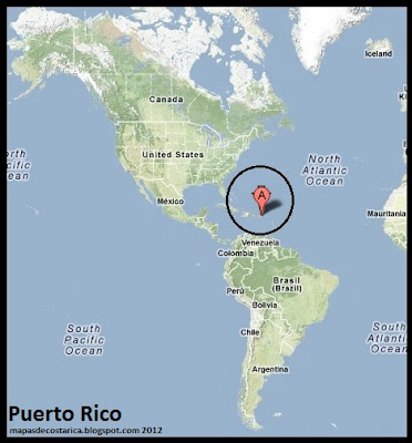 Mapa de Relieve de Puerto Rico en En América