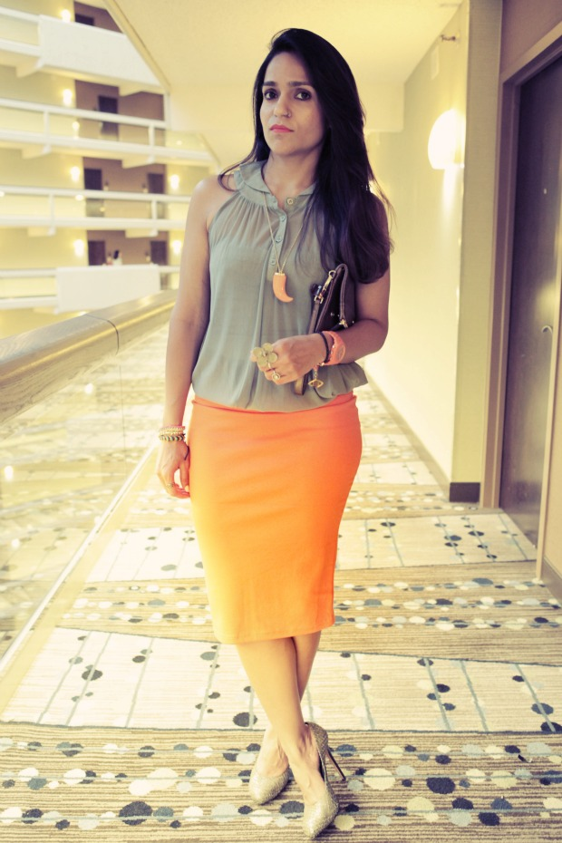 Oasap,, Pencil Skirt, Orange, Tanvii.com, TxSC13