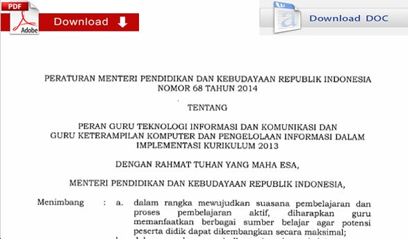 Peraturan Menteri Pendidikan dan Kebudayaan Republik Indonesia Nomor 68 Tahun 2014 Tentang Peran Guru TIK dan KKPI dalam Implementasi Kurikulum 2013