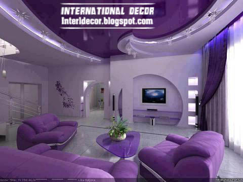 Purple Living Room Decorations With Modern Purple Furniture, Purple Ceiling