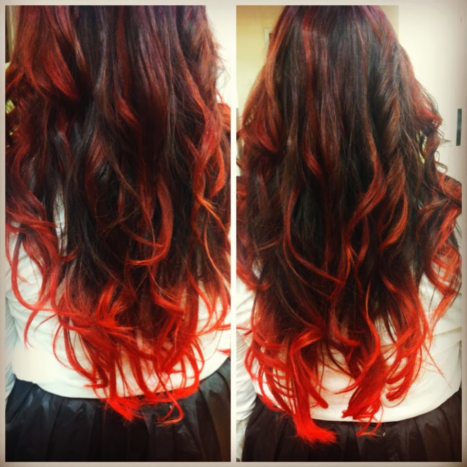 is from dark brown hair with red highlights onto super bright red ...