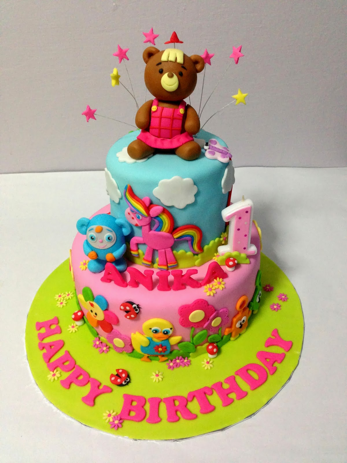 Oven creations happy 1st birthday anika baby first tv cake with anikas favourite bonnie bear as the main focus happy birthday anika publicscrutiny Gallery