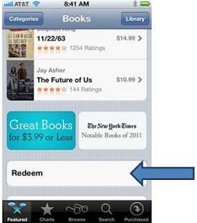 Como resgatar o codigo iTunes Store EUA em iPhone Livros