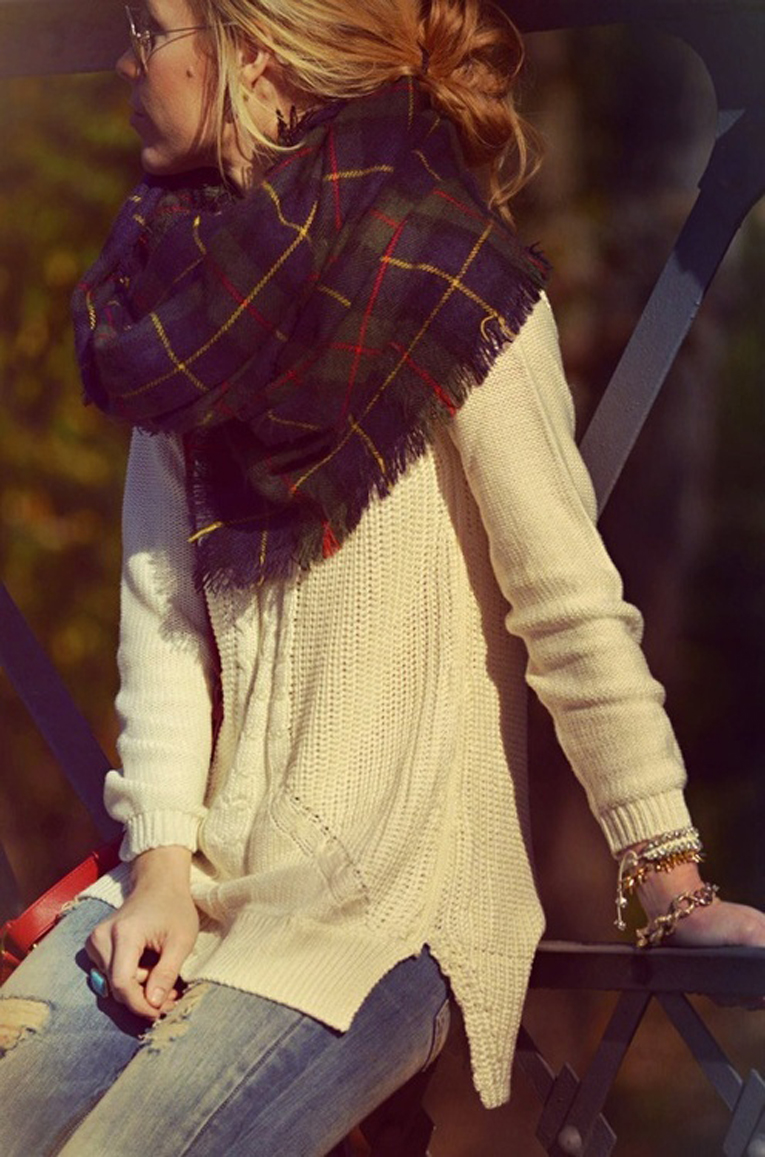 Fall street fashions with plaid tartan scarf
