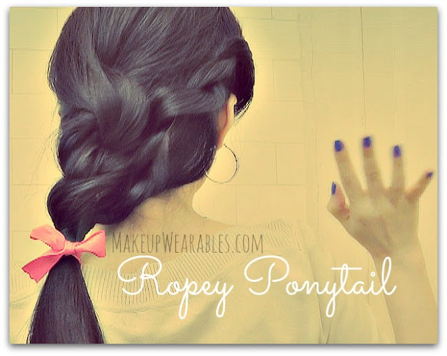 How to Ropey Ponytail Tutorial Video.  Easy hairstyle peinados updos for medium long hair - Wedding, Prom