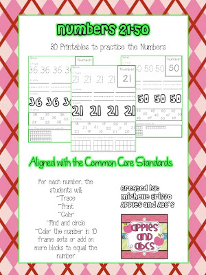 Recognizing And Printing Numbers 21 50 And A Winner Apples And Abcs