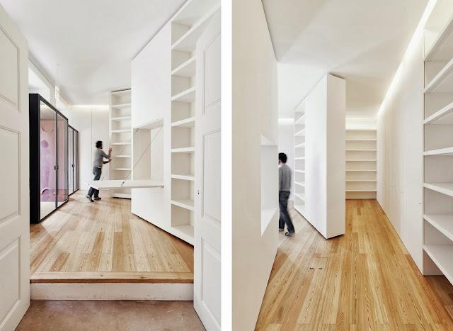 Casa da escrita tarimas de madera y muebles a medida en esta rehabilitaci n en coimbra espacios - Paredes moviles ...