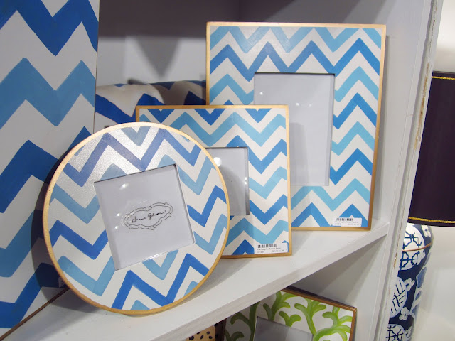 blue chevron picture frames