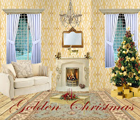 Golden Christmas digital fantasy backgrounds
