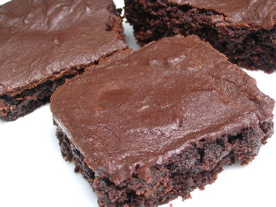 Cocoa Brownies with Peanut Butter Chocolate Icing