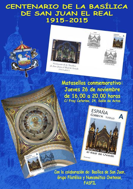 Cartel del matasellos del Centenario de la Basílica de San Juan de Oviedo