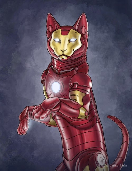 01-Iron-Man-Jenny-Parks-Drawing-Animals-Superhero-Cats-Scientific-Illustrator-www-designstack-co