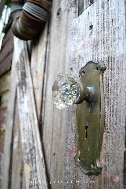 Rustic garden shed 4 - the reveal! / vintage door handle
