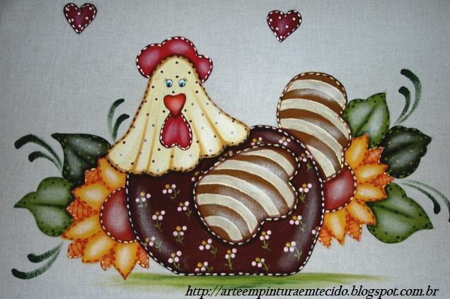 pintura em tecido pano de prato galinha