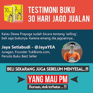 Buku 30 HARI JAGO JUALAN dari Dewa Eka Prayoga Jaya Setiabudi