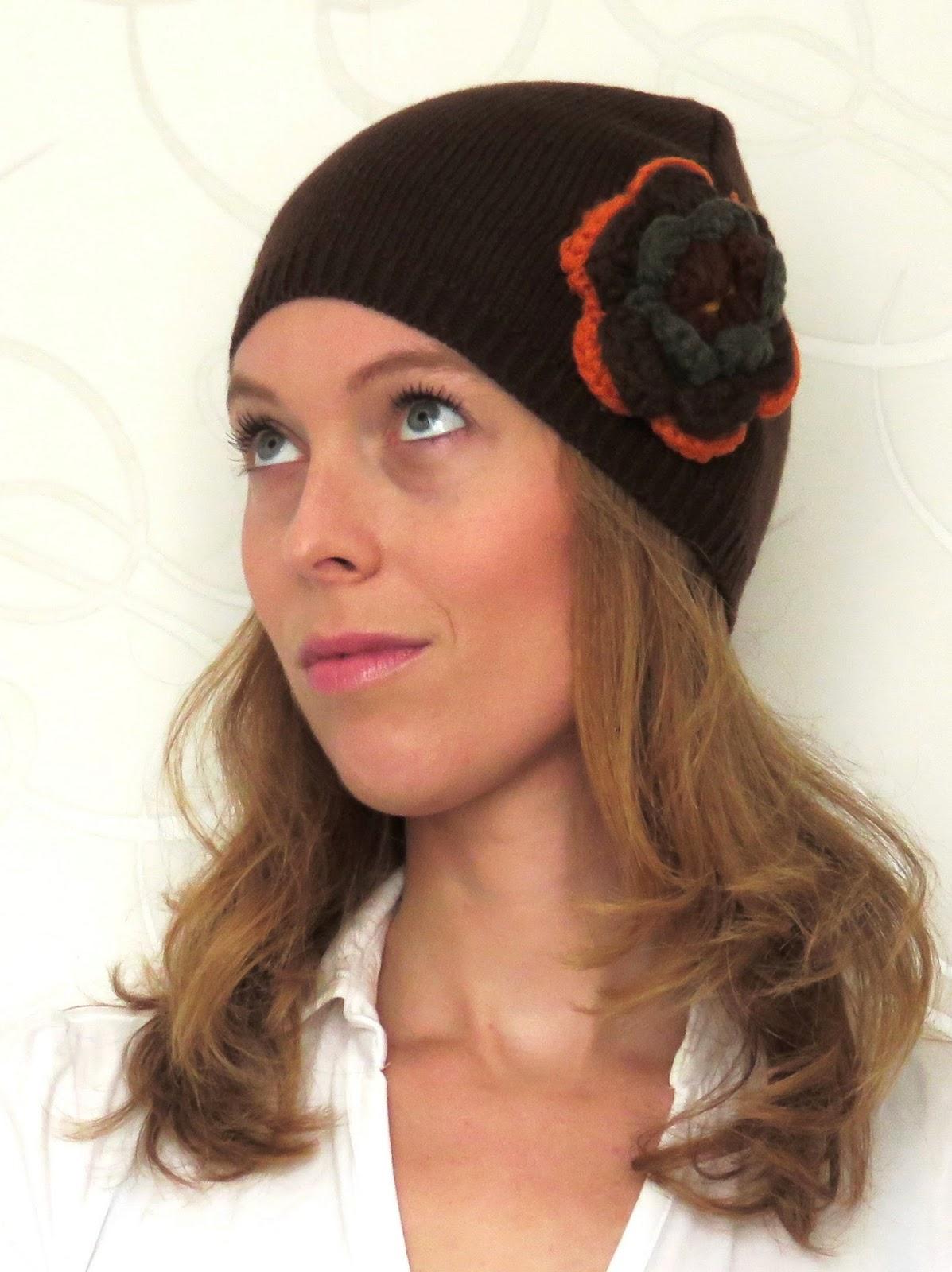 hippie flower winter hat hippie bloem muts