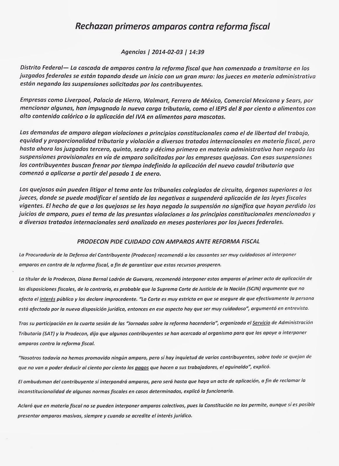 LOS AMPAROS EN CONTRA DE LO FISCAL