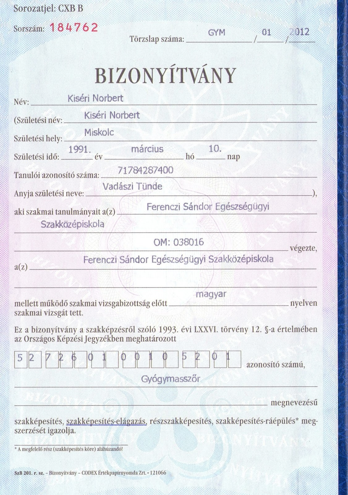 Oklevelem: