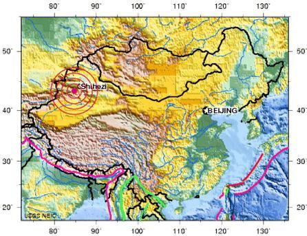 XINJIANG, CHINA earthquake 2012 june 29
