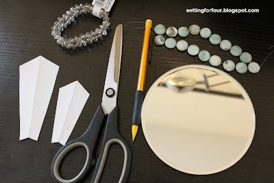 Supplies to make a Sunburst mirror from Setting for Four