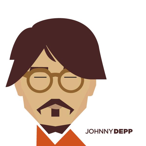 Ilustración minimalista de Johnny Depp realizada por Jag Nagra