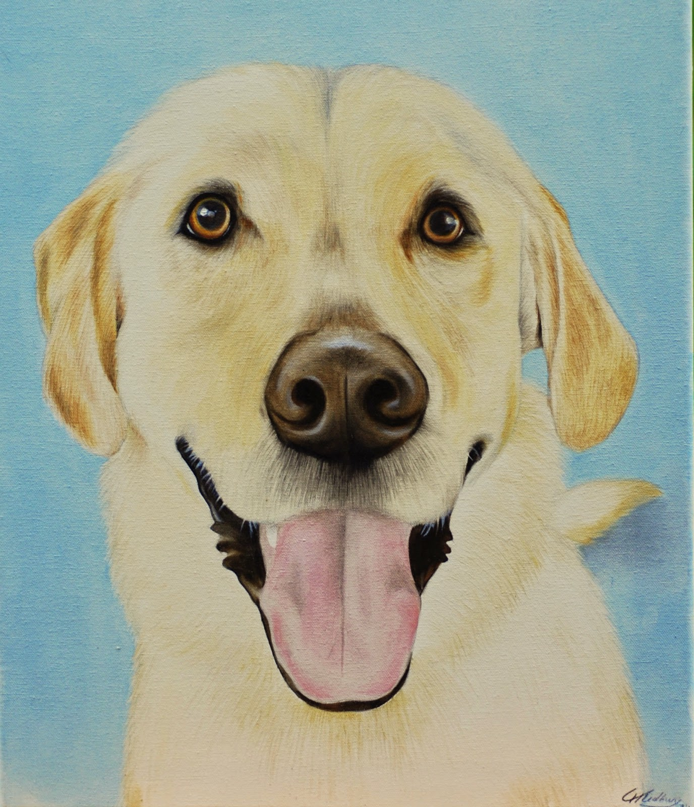 Yellow Labrador Dog Pet Portrait Painting