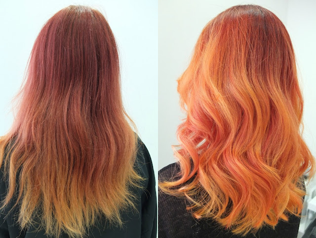 before and after olaplex orange hair