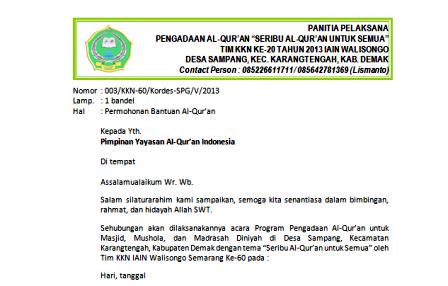 Contoh Surat Proposal Pengadaan Al Quran Islam Cendekia