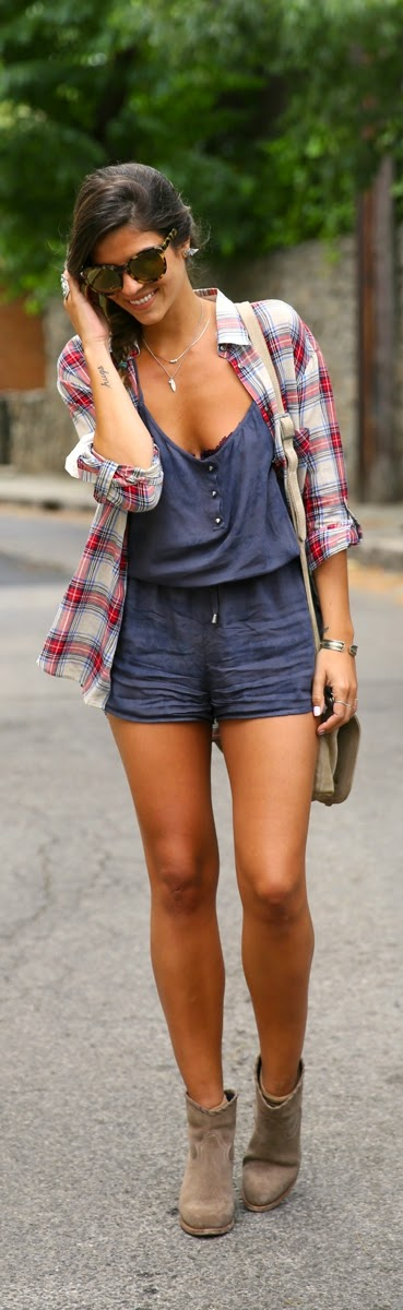 Chic Plaid with Love spikes instead buttons Overall | Spring Chic Outfits