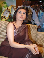 Indian Actress Rani Mukharji in Brown transparent saree