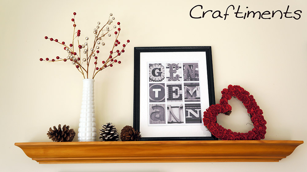 Craftiments:  Vase of berries and heart wreath