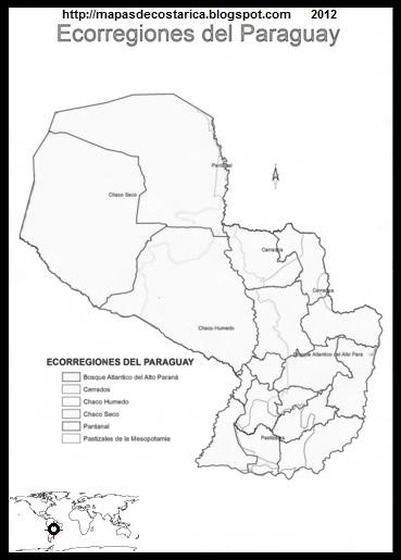 Mapa de Ecorregiones del Paraguay, MAPA PARA PINTAR