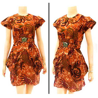 DB2924 Model Baju Dress Batik Modern Terbaru 2013