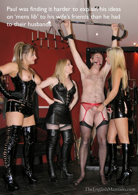Captioned femdom image of three domme wives