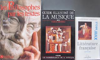 """book cover shot of """"les Philosophes par les textes,"""" """"Guide illustré de la Musique,"""" and """"Littérature française XVIIIe siècle"""""""